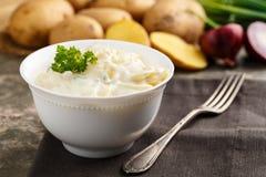 Potato salad. Fresh potato salad with mayonnaise and chives royalty free stock photo