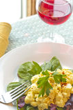 Potato Salad. Fresh potato salad with spinach and garnished with parsley stock images