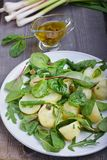 Potato salad with green beans. In plate Stock Images