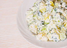 Potato salad with green onions and cucumber Stock Images