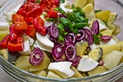 Potato Salad. Ingredients for Potato Salad in a glass bowl, just before being mixed together (potatoes, eggs, red onion, green onion, pepper sections in vinegar stock image