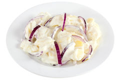 Potato salad with mayonnaise on the plate Stock Image