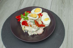Potato salad with mayonnaise. And vegetables Royalty Free Stock Images