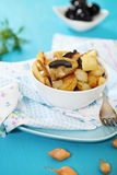Potato salad with olives, onion Stock Photography