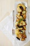 Potato salad with olives, onion Royalty Free Stock Photo
