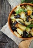 Potato salad with olives, onion, dill Royalty Free Stock Photos