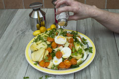 Potato salad. Person hand pouring salt to food Royalty Free Stock Photos
