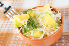 Potato salad with pickled cabbage, green onions and dill Stock Photography
