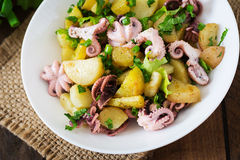 Potato salad with pickled octopus and onions Stock Photography