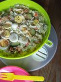 Potato salad and plates outdoors royalty free stock image