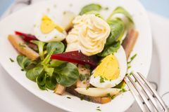 Potato salad with red beet, smoked herring, egg and soy-bean may. Onnaise. Close-up photo Royalty Free Stock Photography