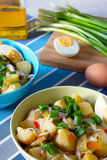Potato salad rustic. Potato salad in green and blue bowls.the background cutting board, a boiled egg and green onion Stock Images