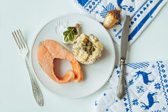 Potato salad with salmon Royalty Free Stock Photography