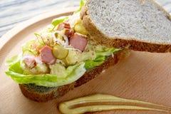 Potato Salad Sandwich. Fresh delicious Potato Salad Sandwich on cutting board royalty free stock photography
