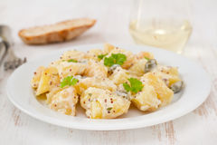 Potato salad with sauce Royalty Free Stock Photo