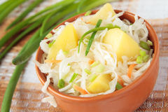 Potato salad with sauerkraut Stock Photos