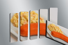 Potato salad with sausage on 3D bar graph Stock Photos