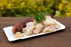Potato salad with sausages Royalty Free Stock Photos
