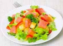 Potato salad with smoked salmon Royalty Free Stock Photo
