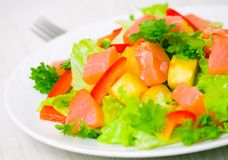 Potato salad with smoked salmon Royalty Free Stock Images