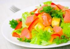 Potato salad with smoked salmon Royalty Free Stock Images