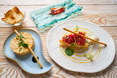 Potato salad Steak tartare and Anchovies Tapas Royalty Free Stock Photo