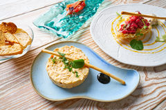 Potato salad Steak tartare and Anchovies Tapas Royalty Free Stock Images