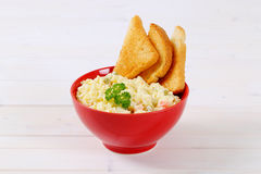 Potato salad with toasts Royalty Free Stock Images