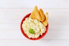 Potato salad with toasts Royalty Free Stock Photos