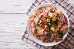 Potato Salad With Bacon And Onions. Horizontal Top View Stock Photo