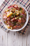 Potato Salad With Bacon And Onions. Vertical Top View Royalty Free Stock Photo
