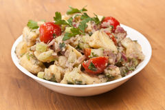 Potato Salad on a Wooden Table Royalty Free Stock Photography