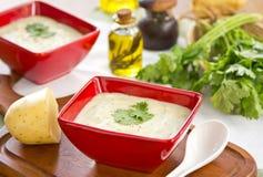 Potato and salmon soup Stock Photo
