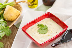 Potato and salmon soup Stock Photography