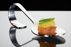 Potato salmon spoon Stock Photography
