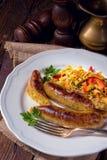 Potato sausage from grated potatoes and pork. Stock Photos