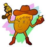 Potato Sheriff Holding Gun and Star Badge Cartoon Stock Images