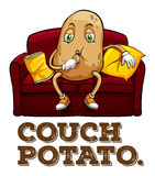 Potato sitting on couch Royalty Free Stock Images