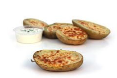 Potato Skins. Baked potato skins with cheese royalty free stock images