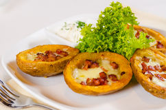 Potato Skins Appetizer with Cheese and Bacon Stock Images