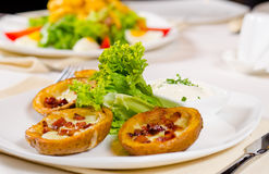 Potato Skins Appetizer with Garnish Stock Image