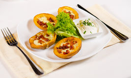 Potato Skins Appetizer Served in Restaurant Stock Photos