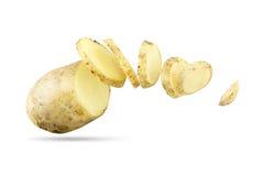Potato. Sliced potato in the air Stock Photos