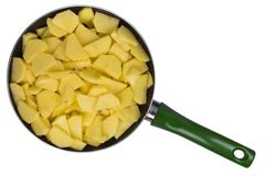 Potato slices in a skillet Stock Images