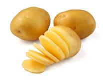 Potato. And slices on white background stock photos