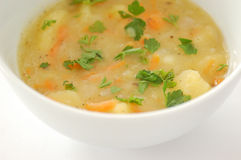 Potato soup. With garlic on a white plate Royalty Free Stock Photography