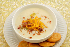 Potato Soup & Crackers Royalty Free Stock Image