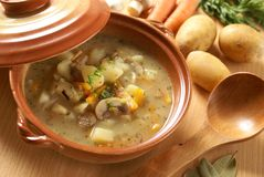 Potato soup. Detail of bowl with potato soup, wooden ladle and food ingredients royalty free stock image