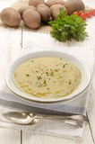 Potato soup with fresh herb Stock Images