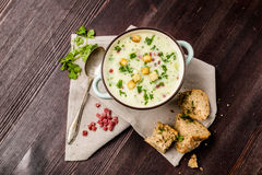 Potato soup with ham and bread. Potato soup with ham, croutons and bread stock photos